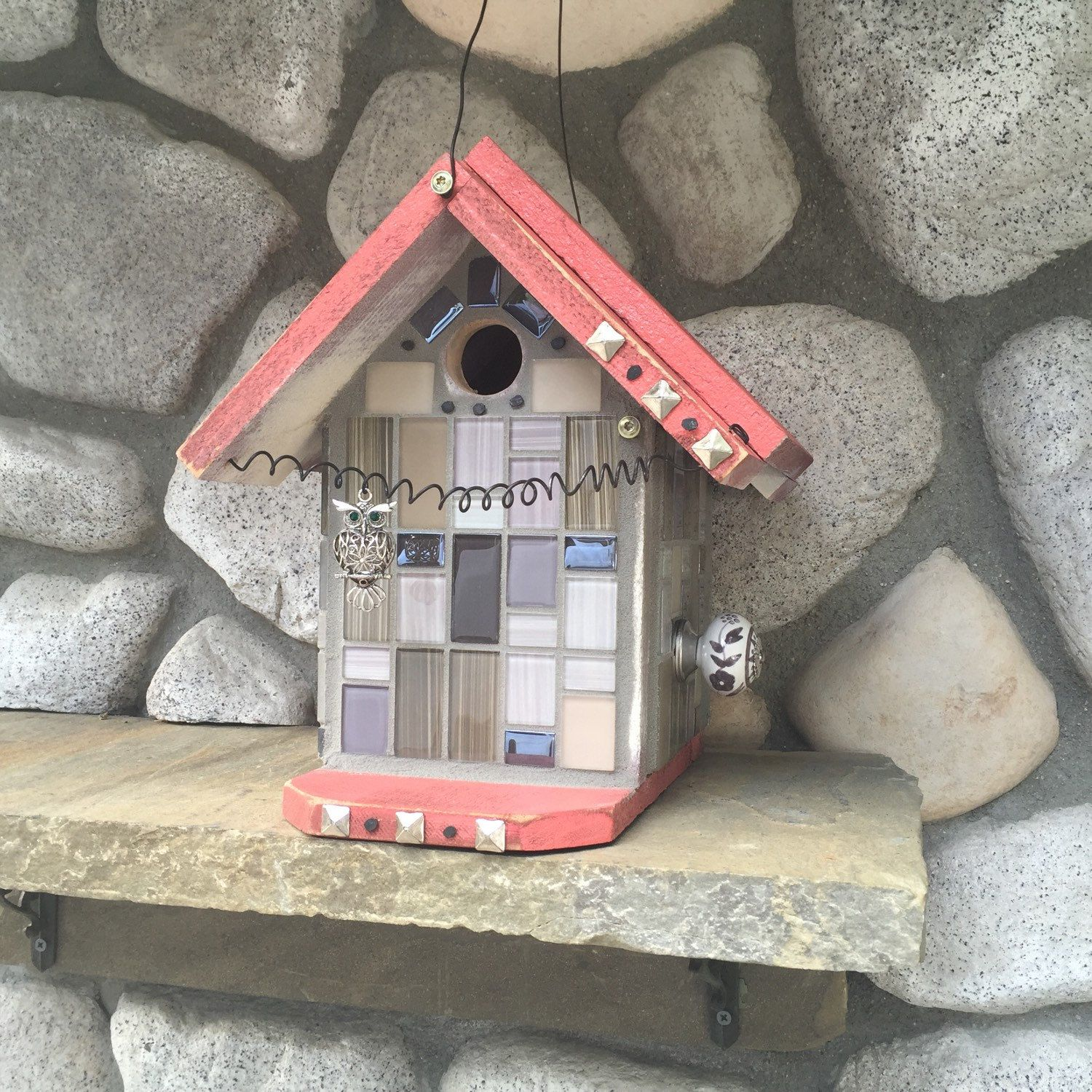 birdhouse, decorative mosaic glass tile hanging bird's nest box