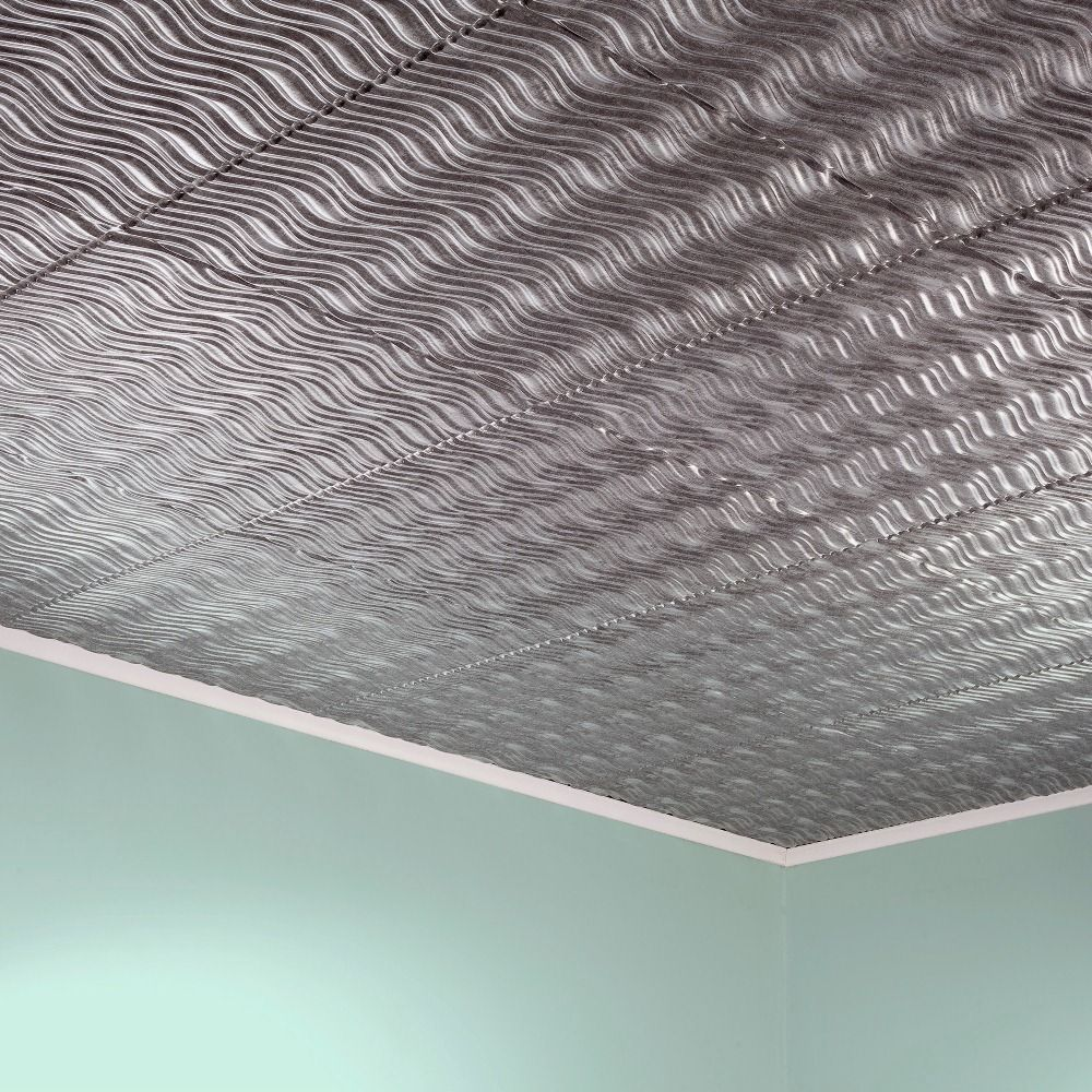 Fasade current horizontal crosshatch silver 2 foot x 2 foot glue fasade current horizontal crosshatch silver 2 foot x 2 foot glue up ceiling tile sample 12in x 12in size 12 x 12 dailygadgetfo Gallery