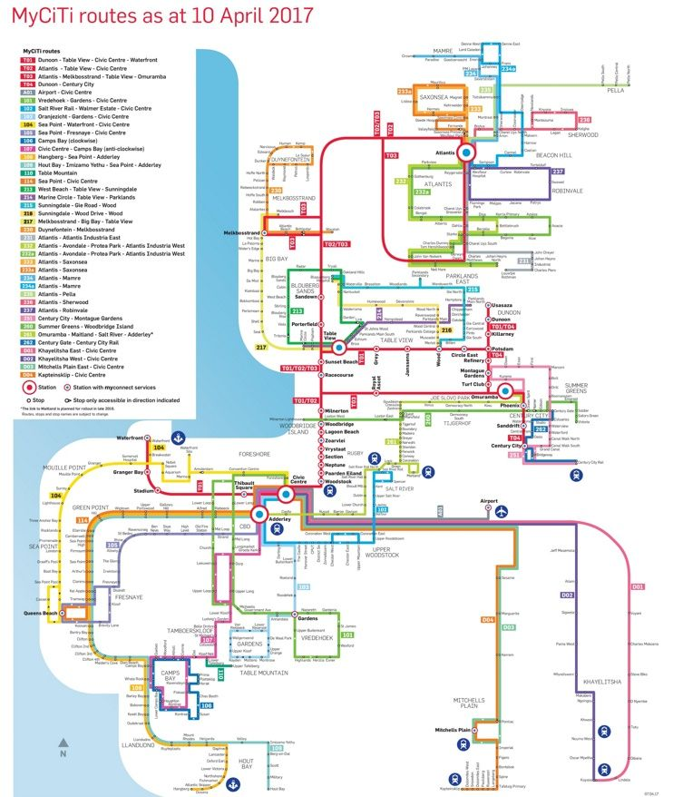 Cape Town MyCiTi bus map Maps Pinterest Bus map Cape town and