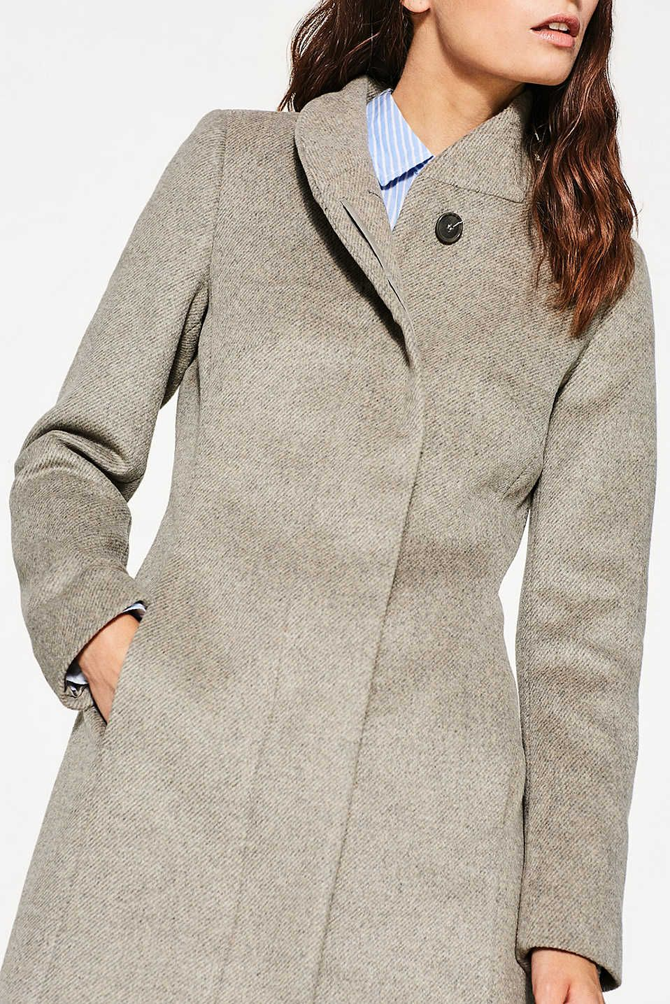 Esprit Wool Blend Coat With Stand Up Collar At Our Online Shop Clothes Outfit Accessories Coat [ 1436 x 958 Pixel ]