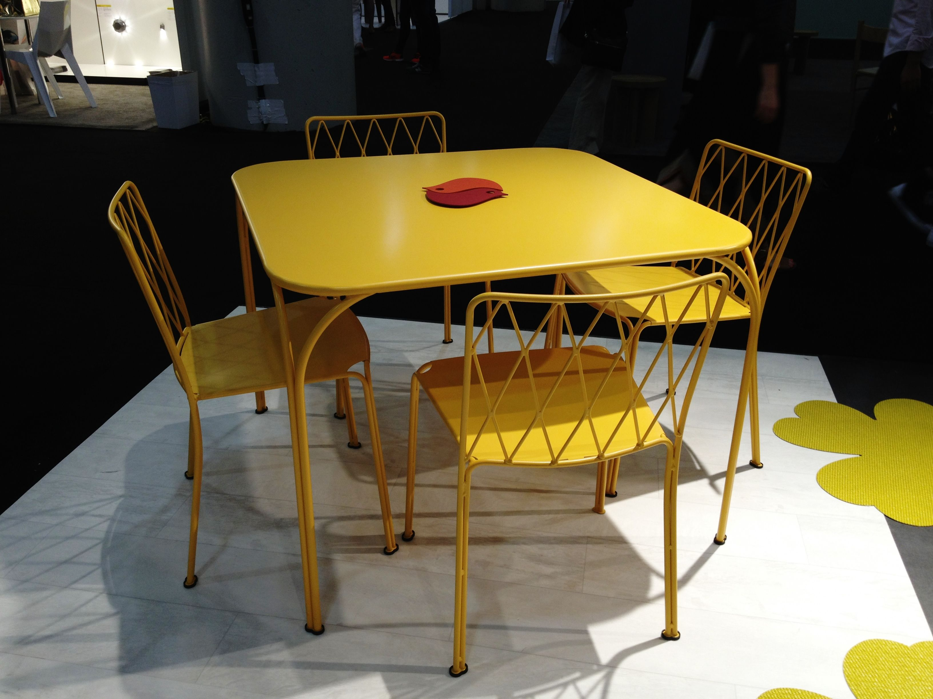 ICFF 2014 FERMOB Kintbury Table and Chairs in their new Honey