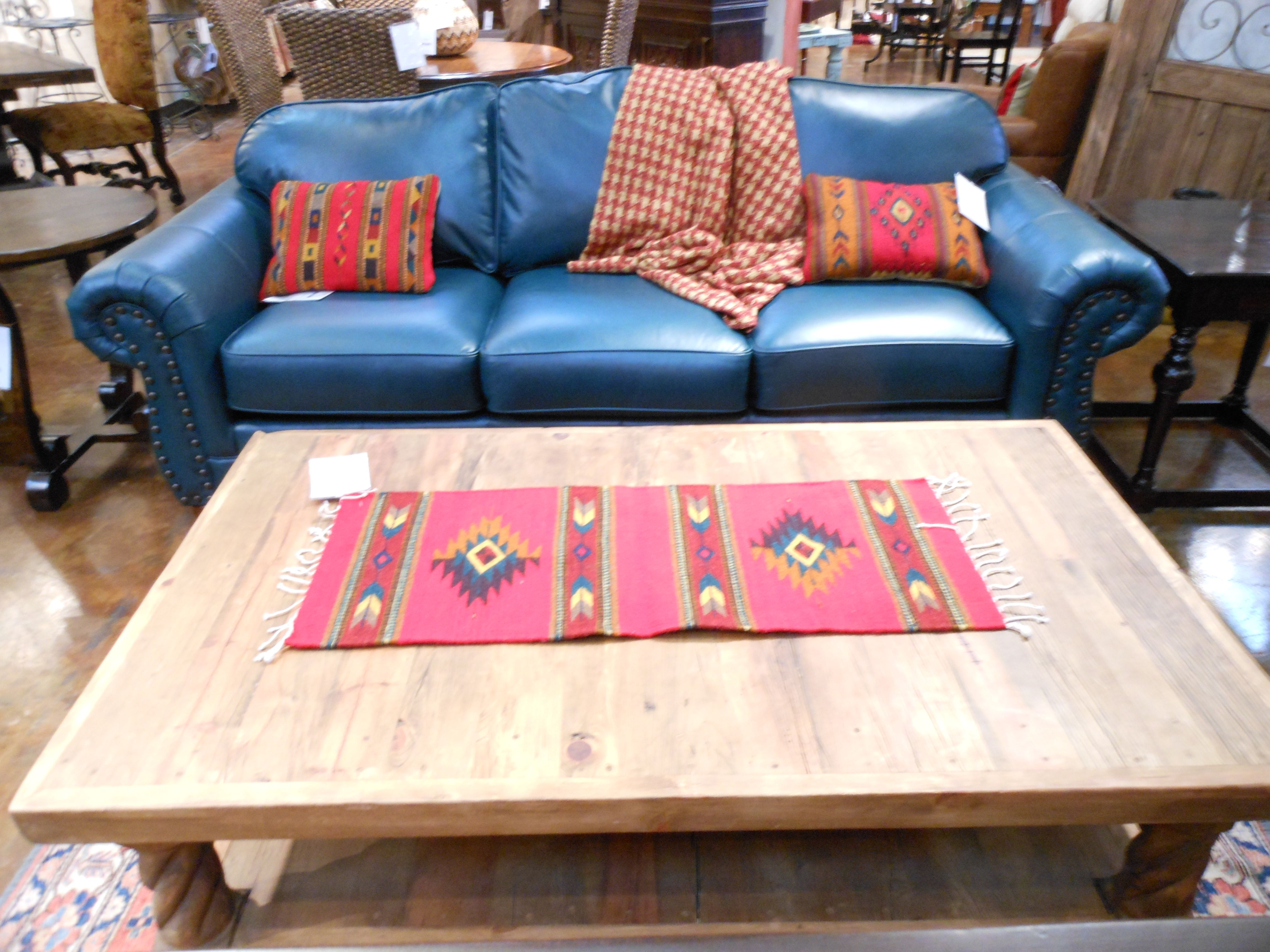 New Turquoise Leather Sofa From Mayo Furniture Of Texarkana Texas With A  Table Hand Made By