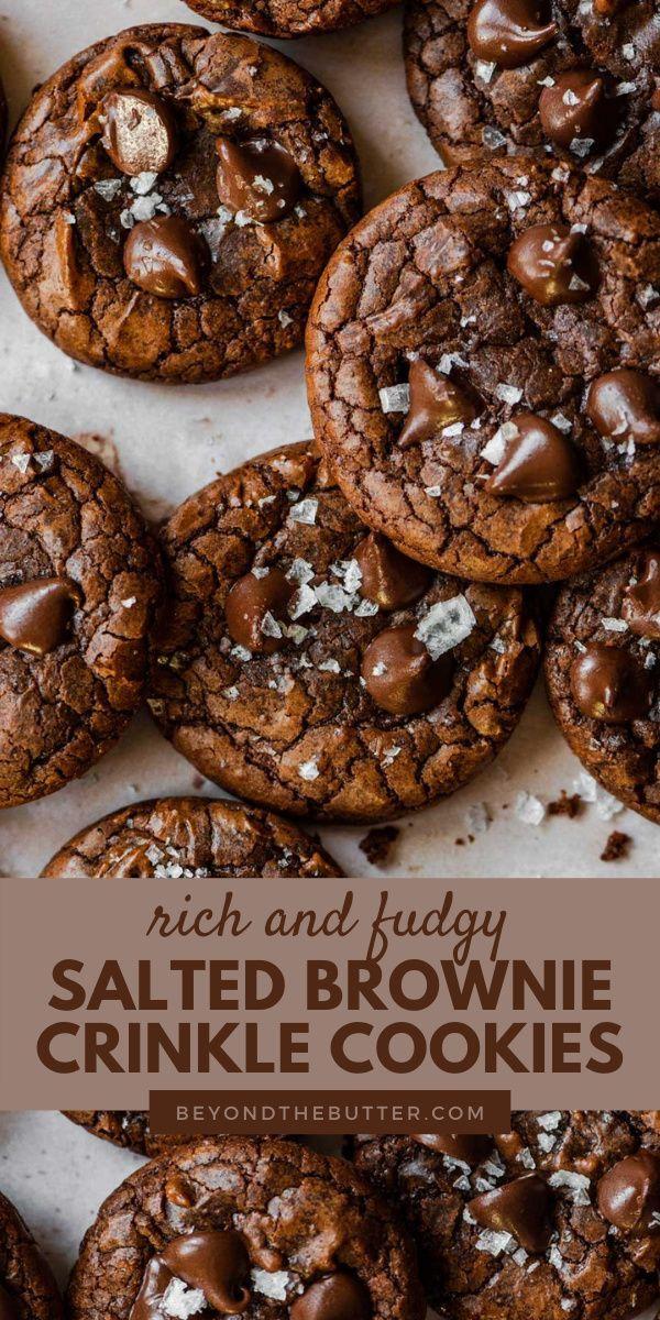 Salted Brownie Crinkle Cookies