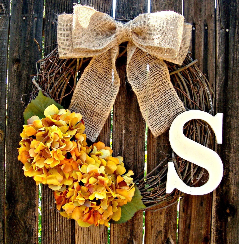 Fall Hydrangea Monogrammed Wreath Wreaths by