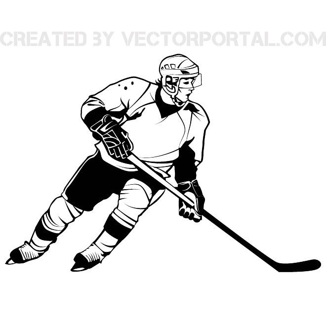 Hockey Player Graphics Free Vector Hockey Players Hockey Drawing Ice Hockey
