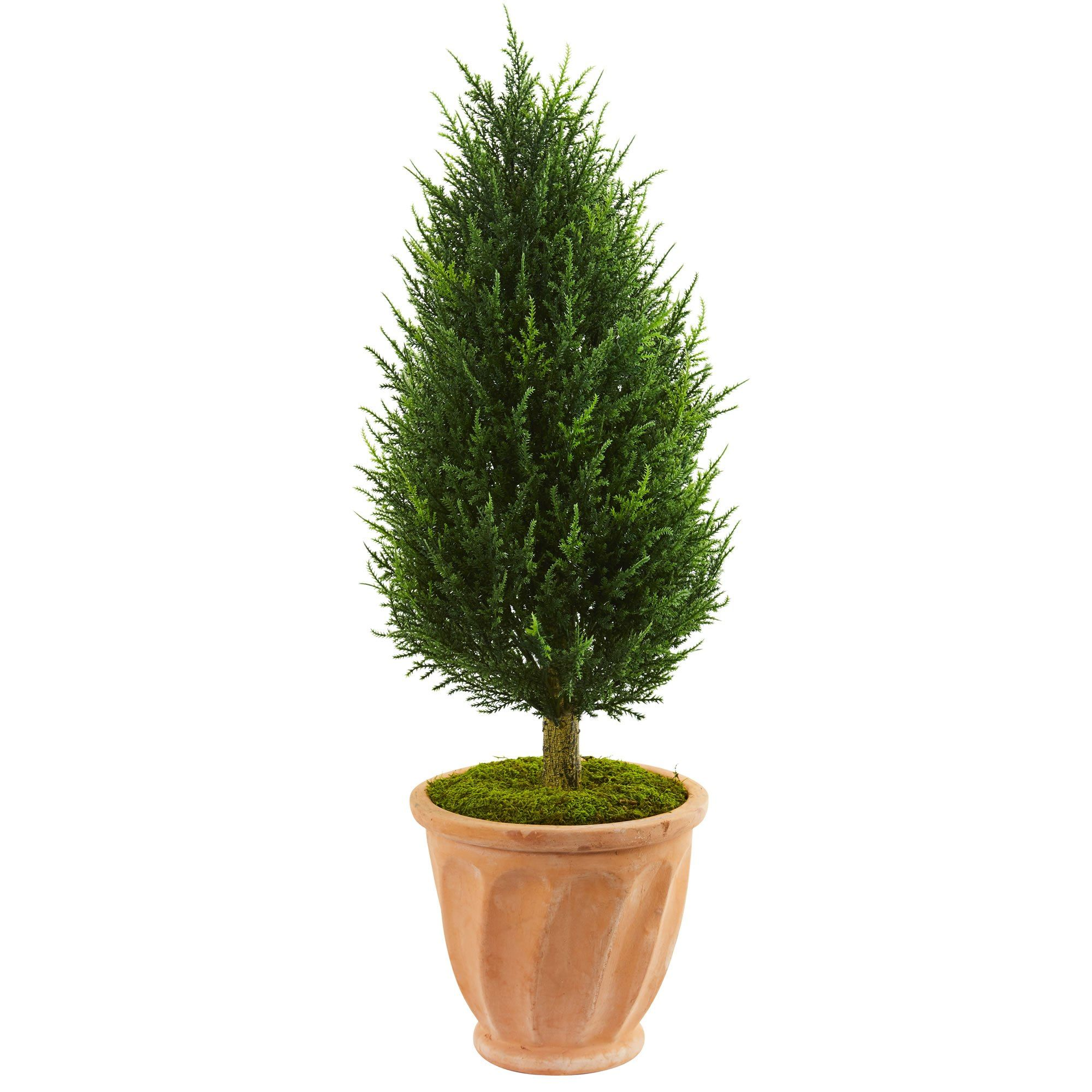 Ud cypress artificial tree in terracotta planter uv resistant