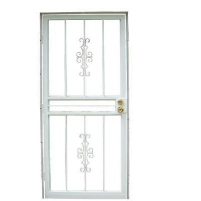 Grisham 28 In X 80 In 501 Series Genesis Steel White Prehung Security Door 50164 The Home Depot Security Door Steel Security Doors Safety Glass