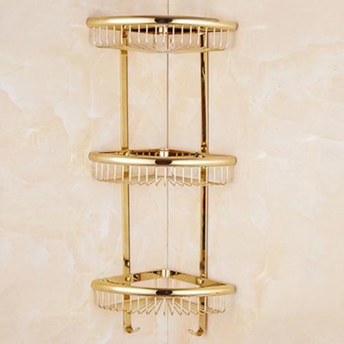 Luxury Crystal Brass Gold Bathroom Shelves Shampoo Holder Corner Bath Basket Bathroom Accessories Bath Hardware El30023 Bathroom Shelf Decor Bath Hardware Bathroom Accessories
