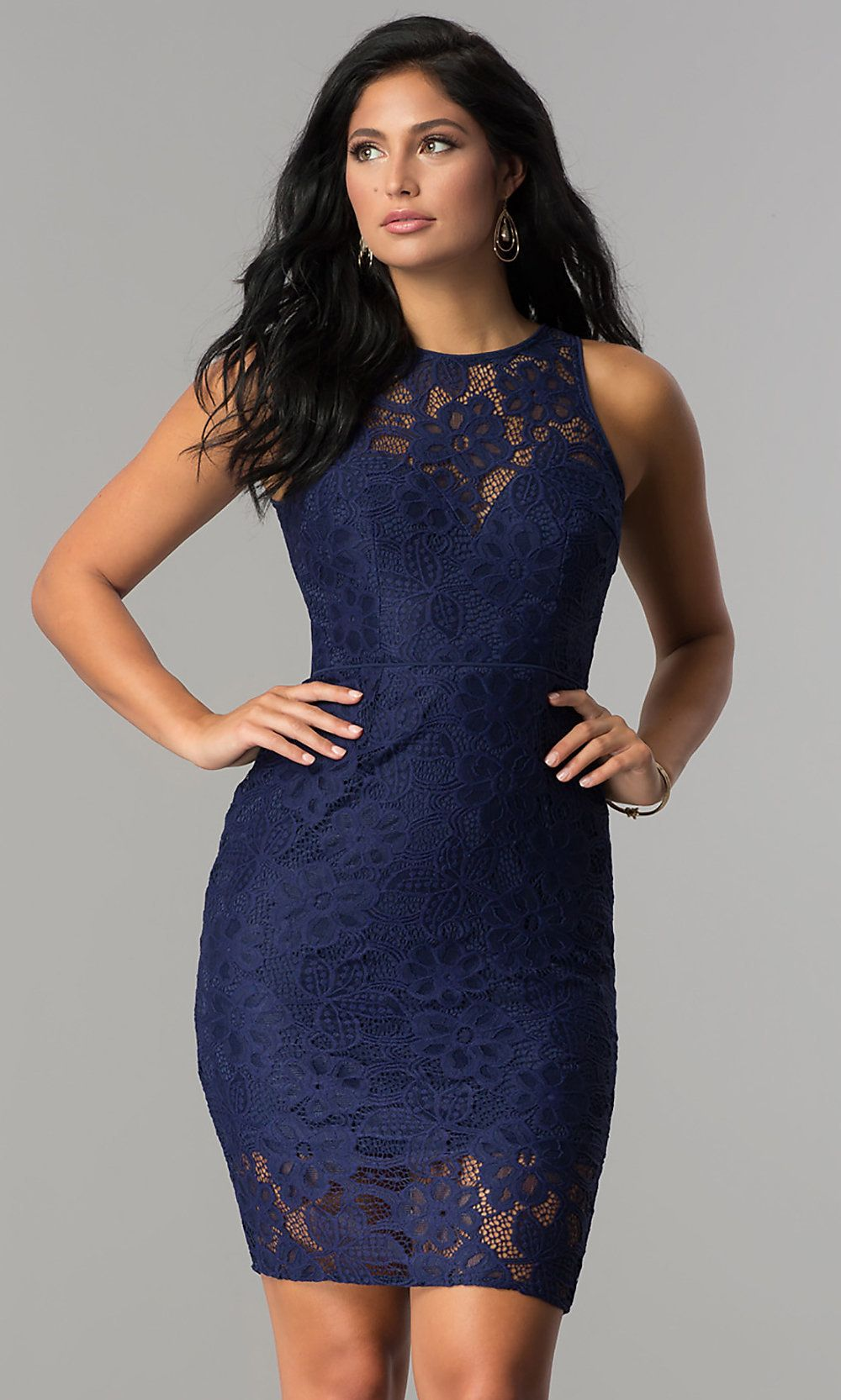 Fitted High-Neck Lace Short Party Dress - PromGirl ...