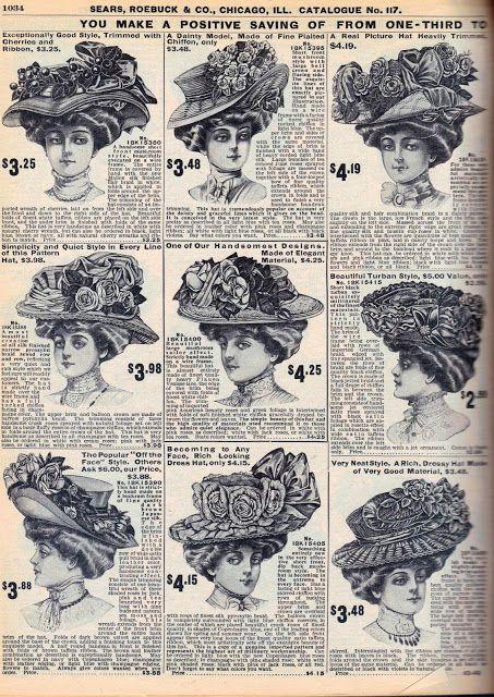 Big Hats Galore 1908 Sears Catalog