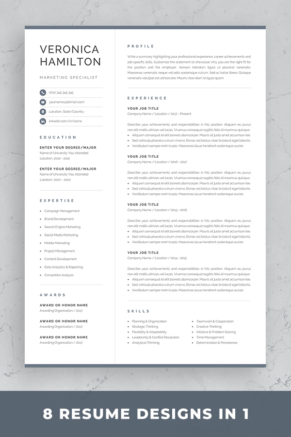Resume Template With Matching Cover Letter And References Page Modern Resume Template Fo One Page Resume Template One Page Resume Resume Template Professional