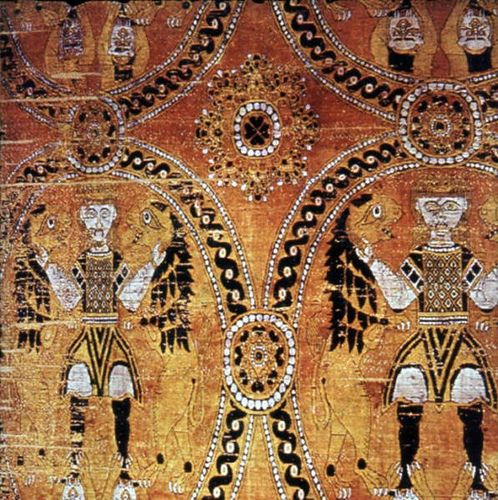 """""""Suaire de St Victor"""" 8th-9thc also known as Gilgamesh and as """"The lion stranglers"""" This Byzantine silk panel of Sassanian influences was woven in Akhmin, in the silk factory established by the Emperor Justinian in the 6th century."""