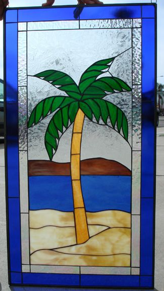 Island Palm Tree Stained Glass Window Panel Several