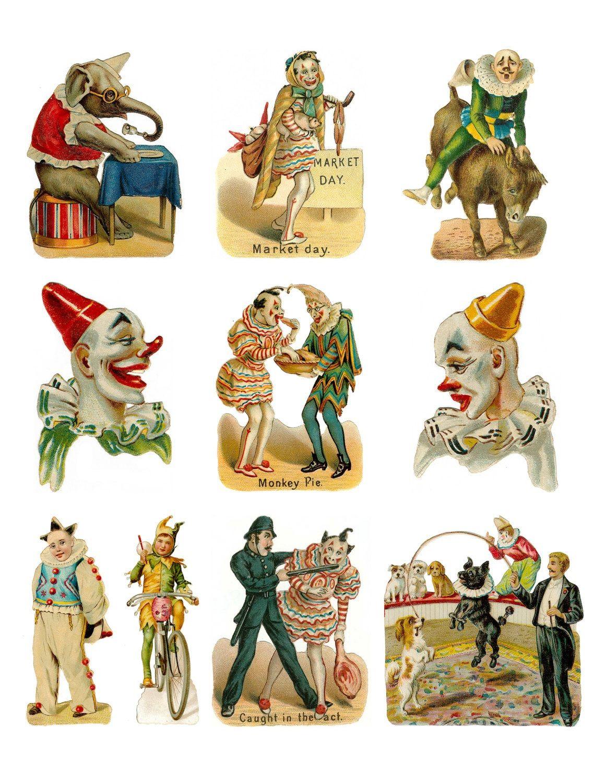antique circus clown acts digital printable circus clown collage rh pinterest com vintage circus tent clip art Circus Theme Clip Art