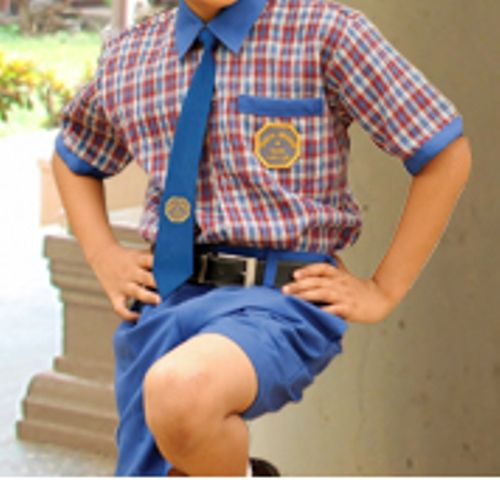0012de1a3 Boys Uniform - Red Checked Half shirt with Blue border & Blue Half Pant  School Uniform