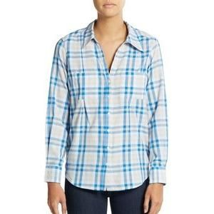 Joie Cartel Plaid Roll-Sleeve Blouse as seen on Kaley Cuoco