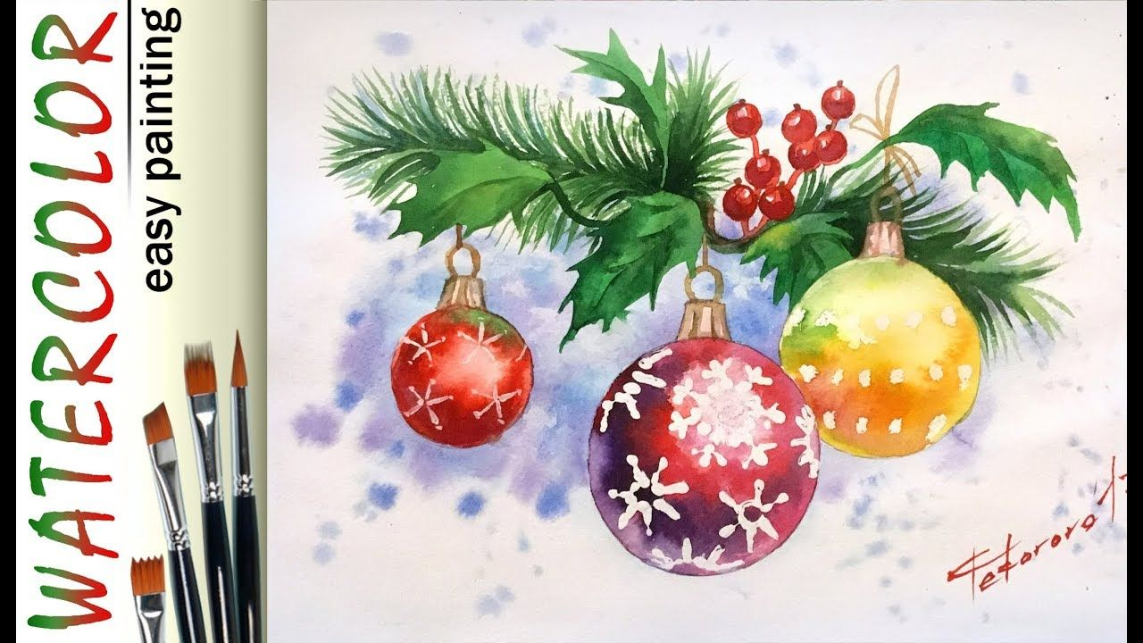 Christmas Holly Leaves How To Paint Full Watercolor Tutorial