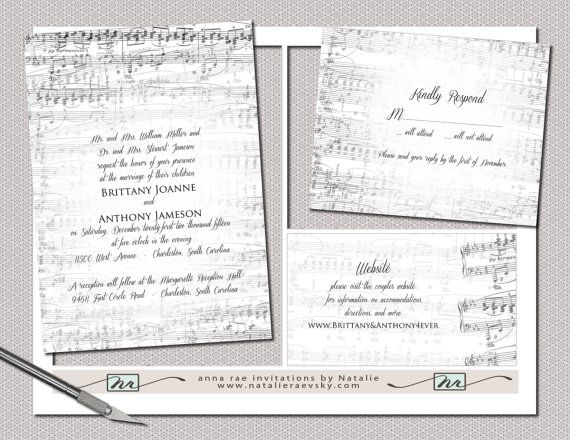 Diy Vintage Music Printable Wedding Invitation Suite By Nraevsky