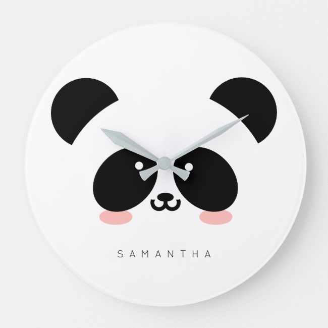 Cute Kawaii Panda Add Your Name Large Clock