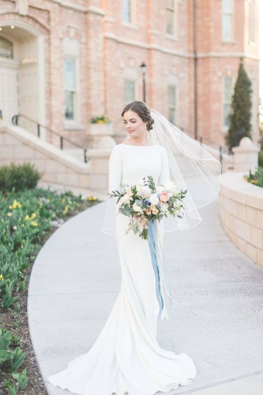 Long Sleeve Modest Wedding Dress No Lace Or Beading Very Simple And Classic Mo Modest Long Sleeve Wedding Dresses Wedding Dresses Lace Modest Wedding Dresses