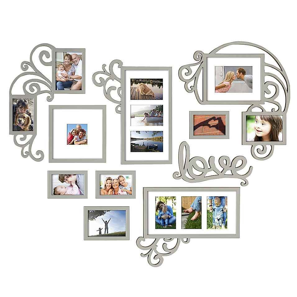 Wallverbs 10 Piece Heart Love Scroll Photo Frame Set In Silver Multiple Picture Frame Photo Frame Display Picture Frame Display