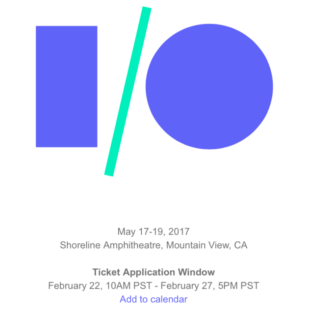 Google I/O 2017 : du 17 au 19 mai, inscriptions le 22 février - http://www.frandroid.com/events/google-io-events/410930_google-io-2017-du-17-au-19-mai-inscriptions-le-22-fevrier  #Évènements, #Google, #GoogleI/O