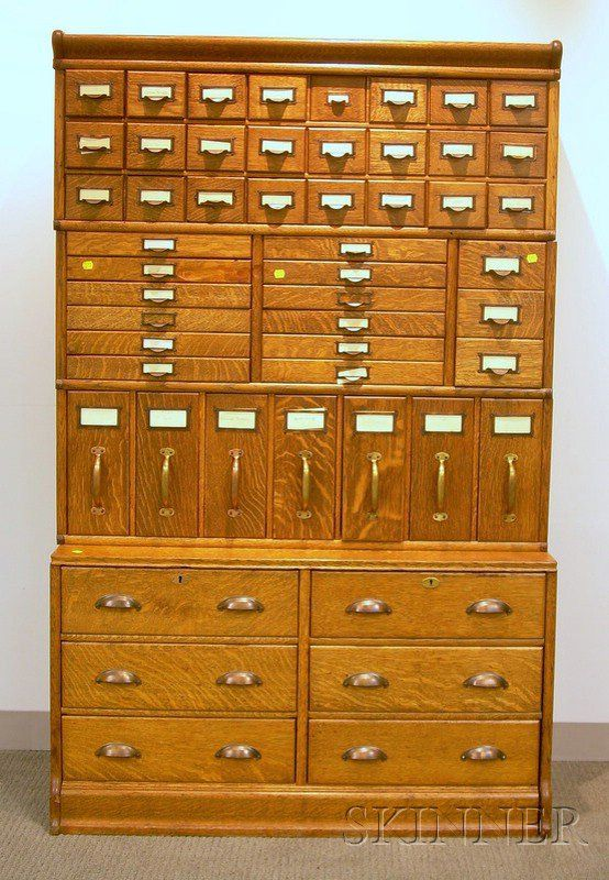 Globe-Wernicke Oak Four-Stack Fifty-two Drawer File Cabinet