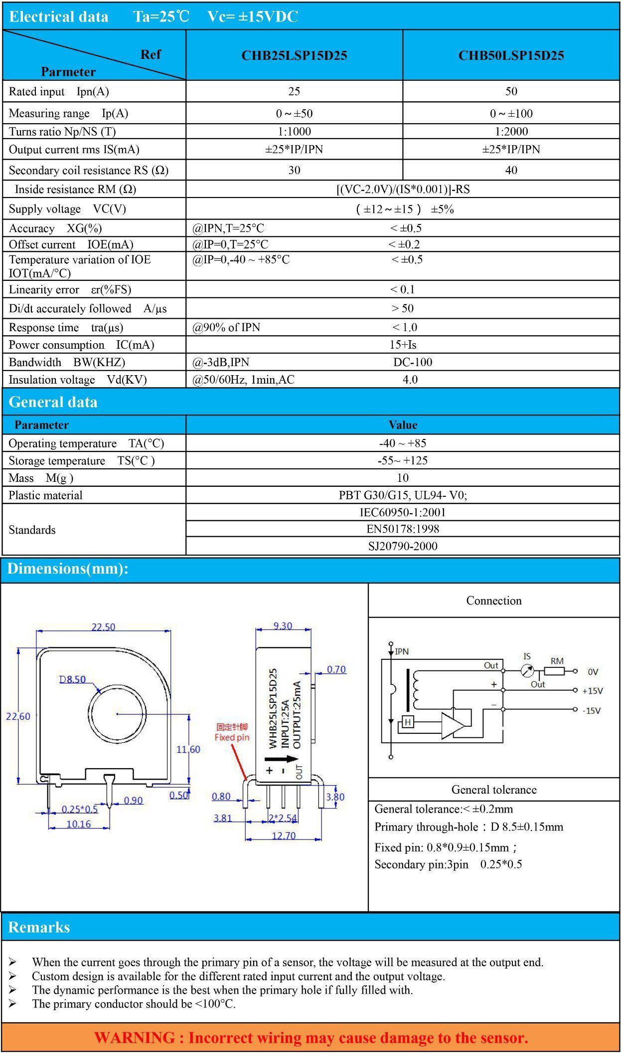 Hall Current Sensor Closed Loop Transducer for Solar Combiner Box  Measurement