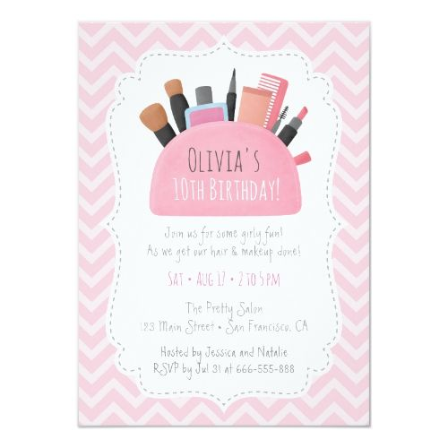 Pink Makeup Pouch Girls Birthday Party Invitations | Zazzle.com -   19 makeup Party invites ideas