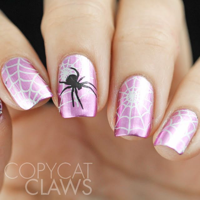 Spider with pink nail design- Dare to be Different - Spider Nail Stamping Nails Pinterest Nail Stamping, Spider And