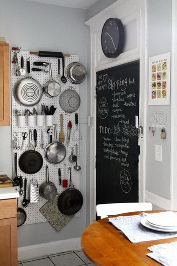 Vertical Storage And Chalkboard Wall. Hang Pots And Pans From A Vertical  Pegboard For Space Saving.