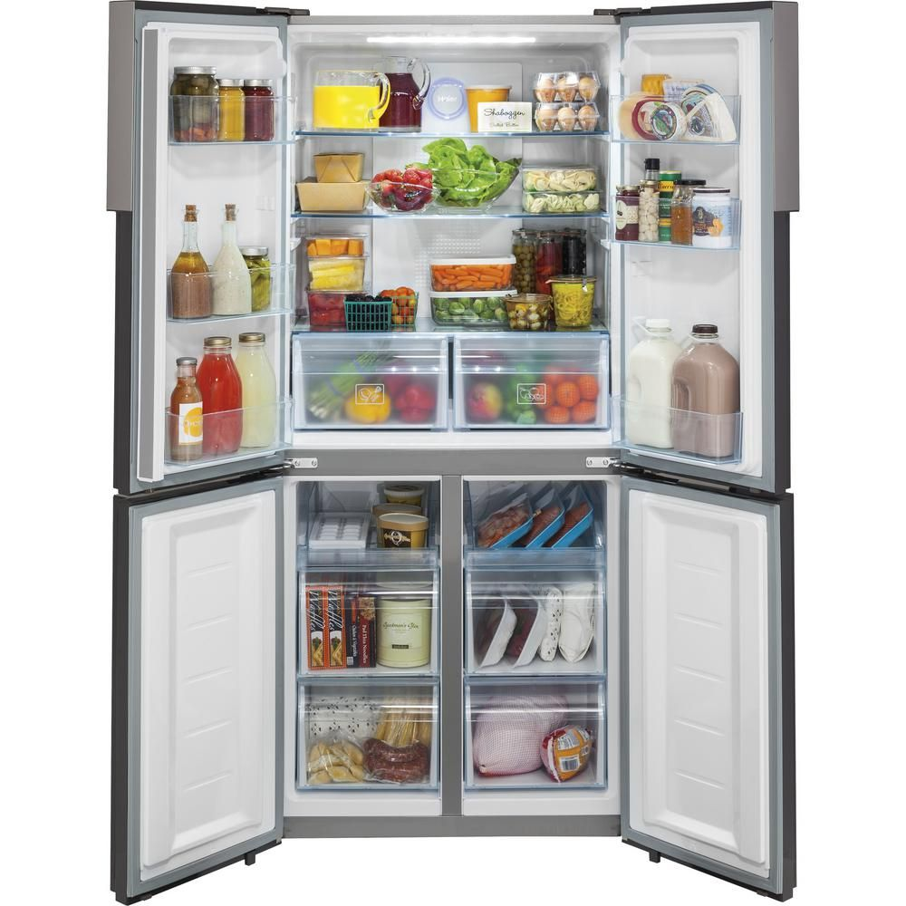 haier 164 cu ft quad french door freezer in stainless steel silver