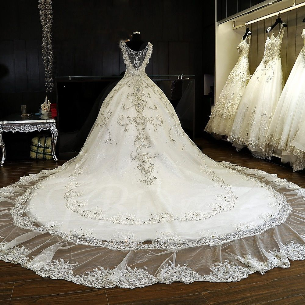 Tbdress Offers High Quality Luxurious Beading Crystal Ball Gown Cathedral Wedding Dress Latest Dresses Unit Price Of 743 84