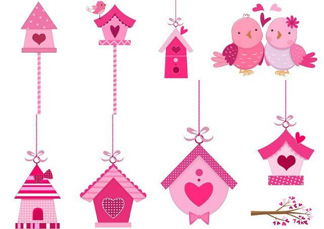 Clipart de Pajaritos Rosa Enamorados.