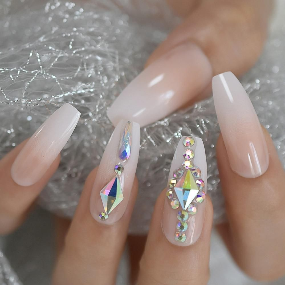 Luxury Custom Large Rhinestones Ombre Coffin Press On Nails Press On Nails Coffin Press On Nails Nail Shapes