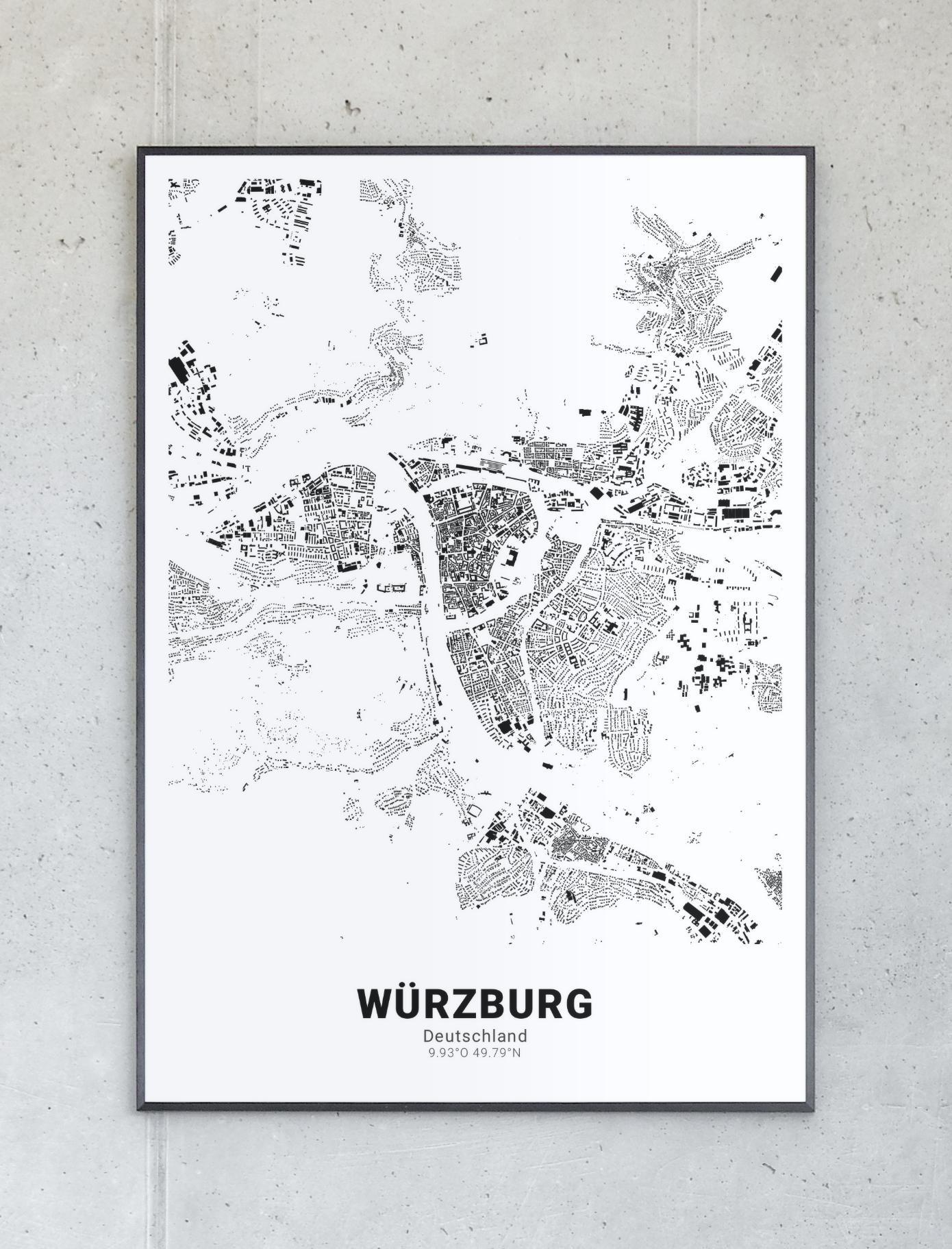 Schwarzplan Von Wurzburg Planer Fotopapier Poster