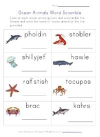 Ocean Animals Worksheet Word Scramble Ocean Unit Pinterest