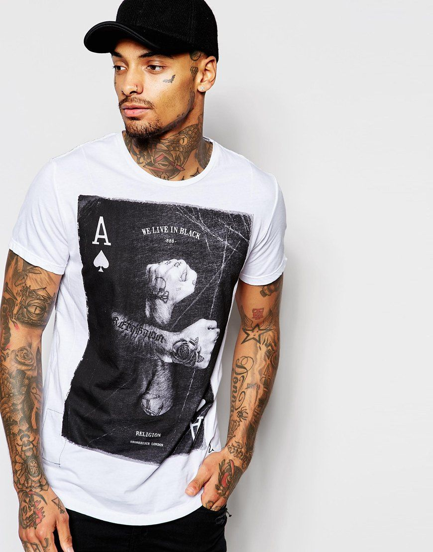 Religion T-Shirt with Ace & Tattooed Hands Print