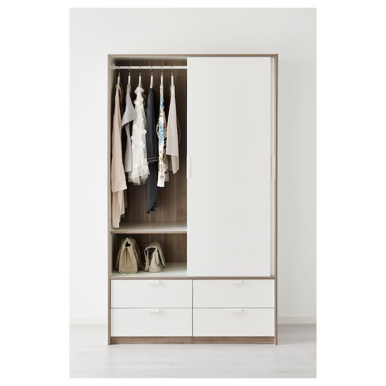Trysil Armoire Portes Couliss 4tiroirs Blanc Ikea Armoire