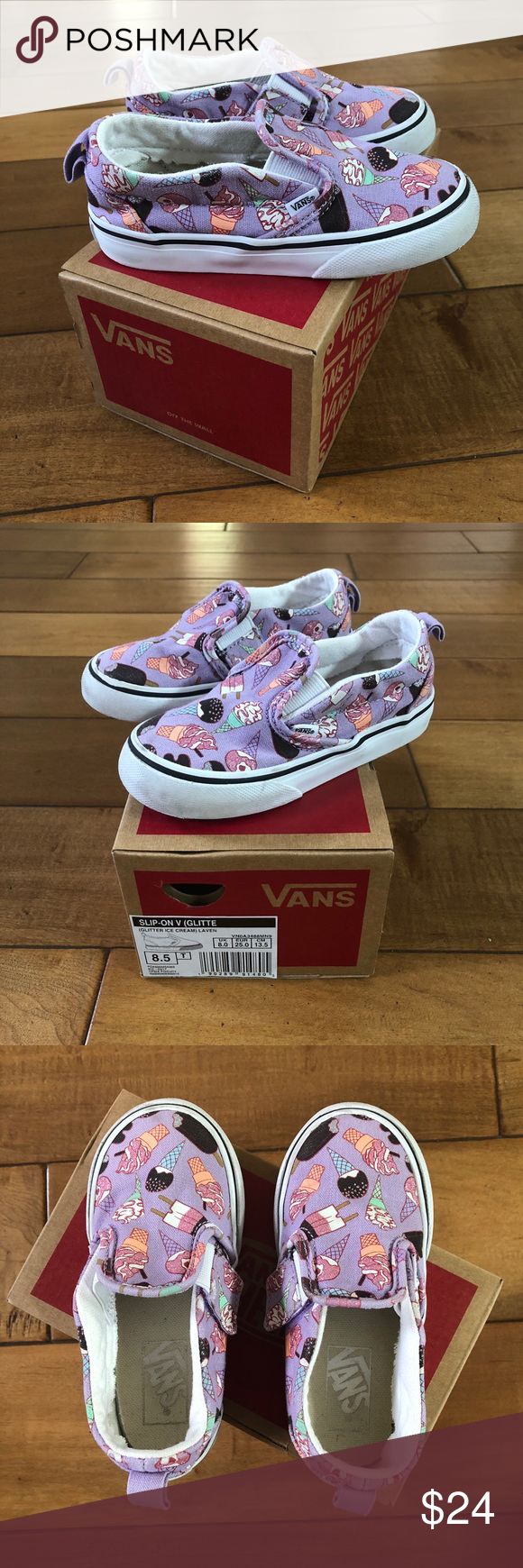 8538ff228d Vans Glitter Ice Cream Slip On V Shoes Toddler 8.5