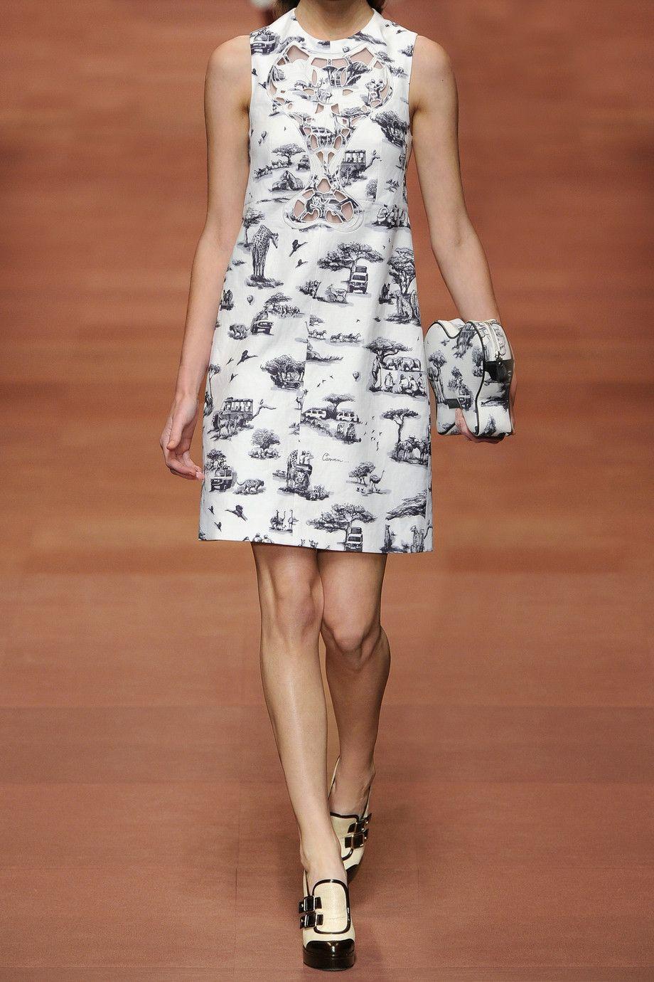 Carven|Safari-print linen and cotton-blend dress|NET-A-PORTER.COM