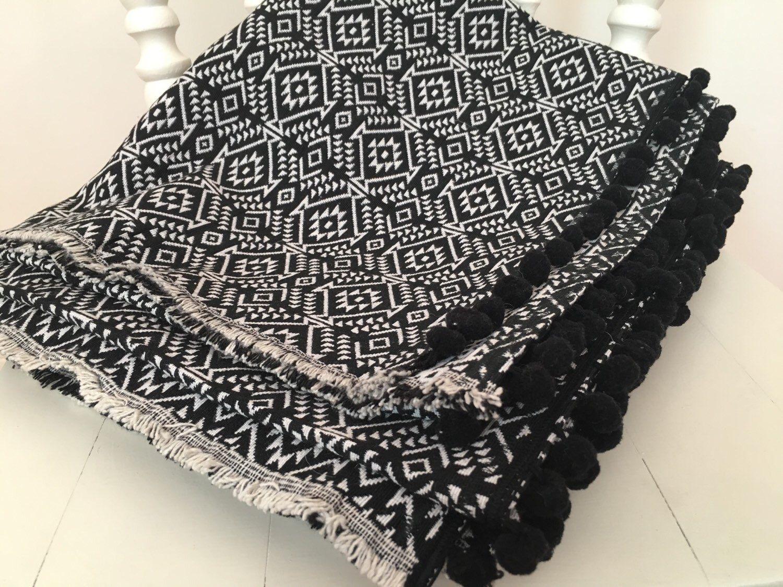 aztec rug reversible pom pom rug black and white pattern throw boho picnic
