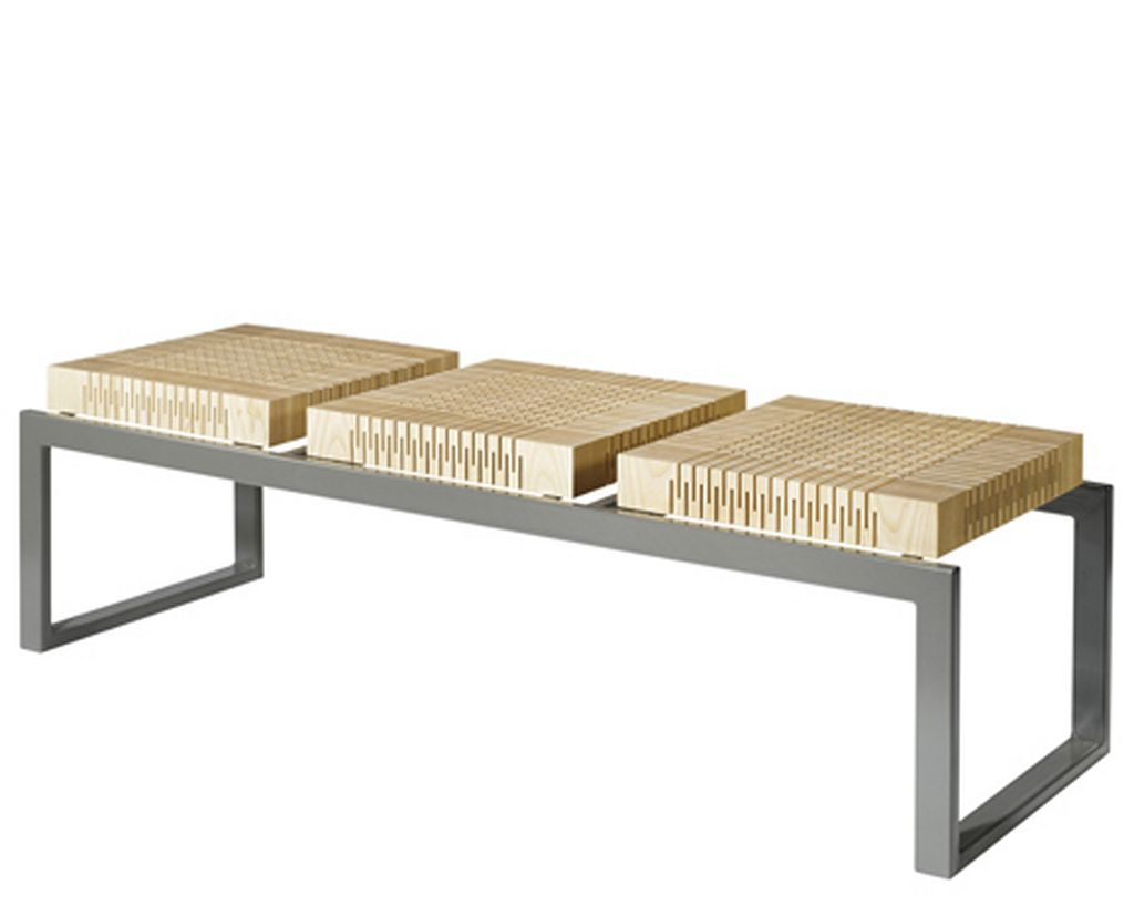 Modern And Unique Wooden Spring Modern Bench With Chrome Metal