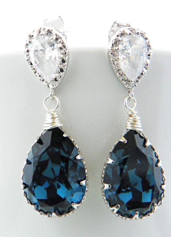 a3abea1b055dc Montana Blue Crystal Bridal Earrings, Navy Blue Wedding Earrings ...