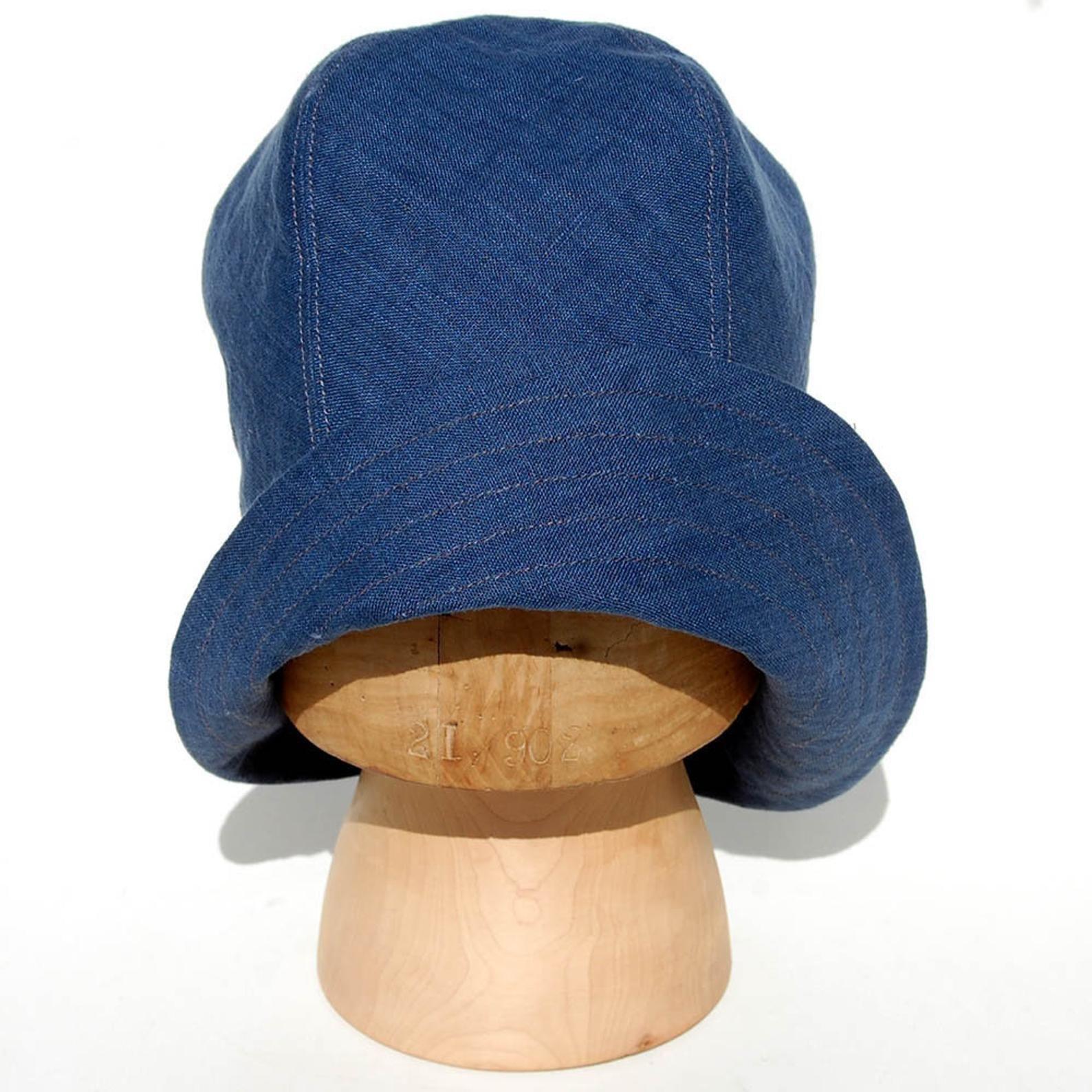 Handmade Linen Cloche Hat Womens Summer Hat Denim Summer Hat Etsy In 2020 Cloche Hat Indigo Linen Summer Hats For Women