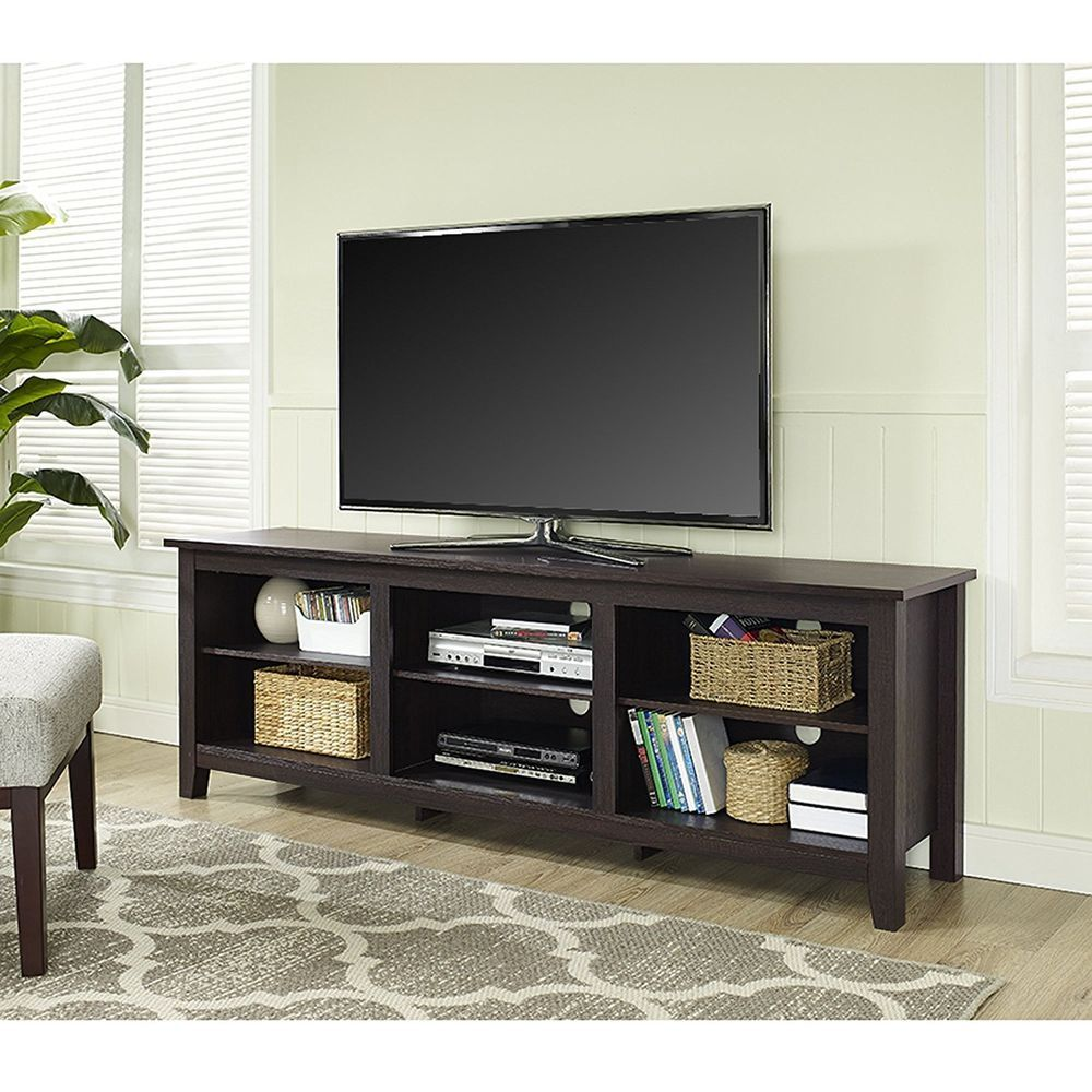 Tv Cabinet Stand Console Large Open Dvd Media Storage Shelves Wood Espresso 70 Wef Contemporary Tv Stand Wood Wood Tv Stand Rustic Wood Corner Tv Stand