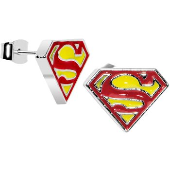 Licensed Red and Yellow Superman Logo Stud Earrings | Body Candy Body Jewelry