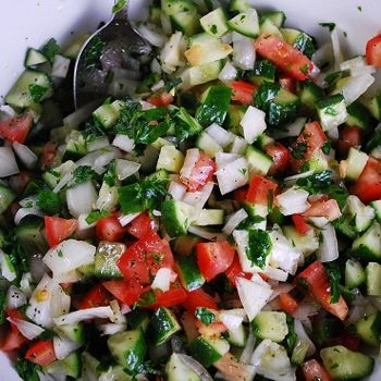 One of my go-to quick and easy salad recipes, this Middle Eastern Cucumber Tomato Salad Recipe is delicious, lovely, and just 3 Points + per serving. It's fresh, crisp taste makes it a great summer lunch idea.