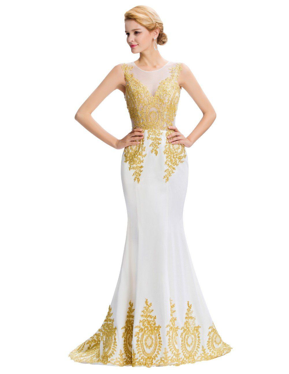 Gold embroidery mermaid evening dresses lace evening gowns formal