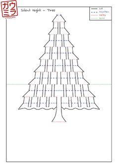 Diy Template Silent Night Christmas Tree Card Kirigami Pop Up Paper Sculpture Pop Up Cards Christmas Tree Cards Christmas Card Template